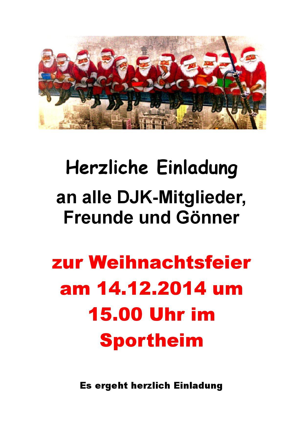 einladung zur weihnachtsfeier » djk hergolshausen e.v., Einladung