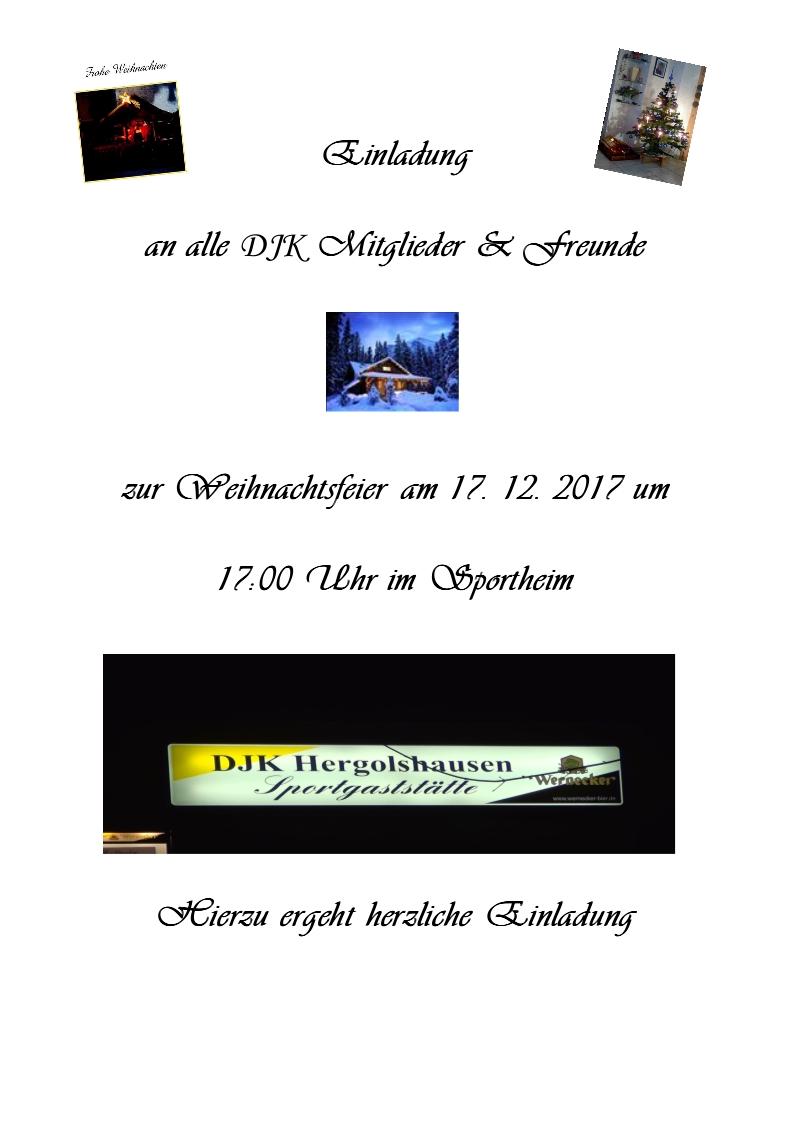 Einladung Weihnachtsfeier Verein.Einladung Zur Weihnachtsfeier 2017 Djk Hergolshausen E V