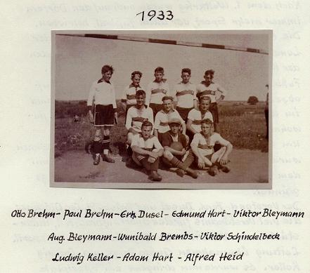 erste Fußballmannschaft 1933